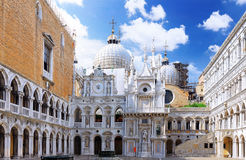 Enclosed court of San Marco,Venice, Italy. Panorama royalty free stock photography