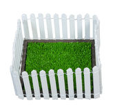 Enclosed Grass Yard. Enclosed green grass yard by a white picket fence - path included Royalty Free Stock Images