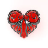 Enclosed Heart, Front. Red 3d heart enclosed in dark fretwork metal, isolated stock illustration