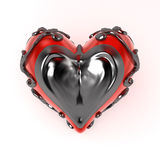 Enclosed Heart Metal, Front. Red 3d heart enclosed in dark fretwork metal, isolated royalty free illustration