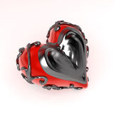 Enclosed Heart Metal, Side. Red 3d heart enclosed in dark fretwork metal, isolated vector illustration