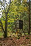 Modern Enclosed Hunting Stand. An enclosed hunting stand in central Europe at the edge of the forest overviewing an agricultural plantation Royalty Free Stock Photos