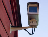 Enclosed Professional Security System Video Camera Mounted Outsi Royalty Free Stock Images