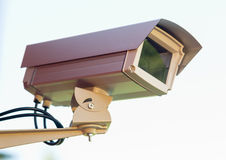 Enclosed Professional Security Video Camera Mounted Outside Home Stock Image