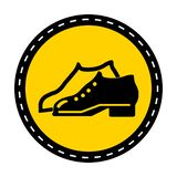 Symbol Enclosed Shoes Are Required In The Manufacturing Area sign on white background. Enclosed Shoes Are Required In The Manufacturing Area sign on white vector illustration