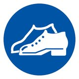 Enclosed Shoes Are Required In The Manufacturing Area Symbol Sign ,Vector Illustration, Isolate On White Background Icon .EPS10 stock illustration