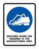Enclosed Shoes Are Required In The Manufacturing Area Symbol Sign ,Vector Illustration, Isolate On White Background Icon .EPS10 vector illustration