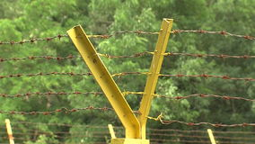The enclosure of barbed wire at the gas pumping station near Varna in Bulgaria stock video footage