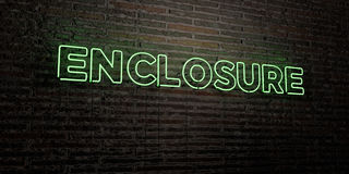 ENCLOSURE -Realistic Neon Sign on Brick Wall background - 3D rendered royalty free stock image. Can be used for online banner ads and direct mailers Royalty Free Stock Photography