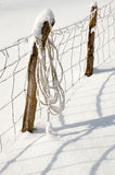 Enclosure in snowy field Royalty Free Stock Photo