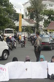 Encobrindo o protesto misto contra a corrupção na cidade de solo Fotografia de Stock Royalty Free