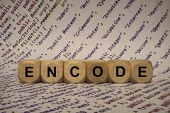 Encode - cube with letters and words from the computer, software, internet categories, wooden cubes Royalty Free Stock Photography