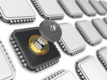 Encoded chip. 3d illustration of encoded chip and many others stock illustration