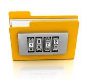 Encoded folder. 3d illustration of folder icon with combination lock Royalty Free Stock Photos