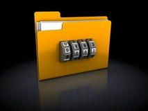 Encoded folder. 3d illustration of folder with code lock, over black background Stock Photo