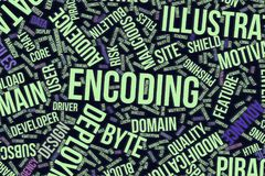 Encoding, conceptual word cloud for business, information technology or IT. Encoding, IT, information technology conceptual word cloud for for design wallpaper royalty free illustration