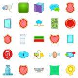 Encoding icons set, cartoon style. Encoding icons set. Cartoon set of 25 encoding vector icons for web on white background royalty free illustration