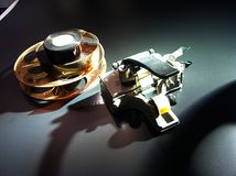 Encoladora y carrete de película Imagen de archivo