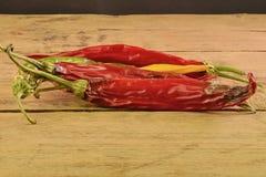 Encolhimento e pimentas de pimentão do molde no fundo de madeira branco Pimentas de pimentão podres Imagens de Stock