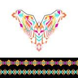 Encolure de vecteur et conception de frontières pour la mode Copie tribale ethnique de cou Embellissement de coffre dans le style illustration libre de droits