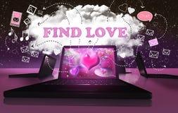 Encontrando o amor com datar em linha do Internet Fotos de Stock