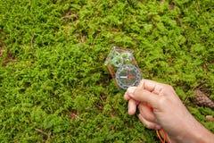 Encontrando a posição direita na floresta com kompass Fotos de Stock Royalty Free