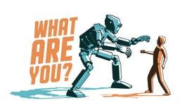 Encontrando un robot y a un hombre - cartel retro del cyborg del vintage en estilo del sello stock de ilustración