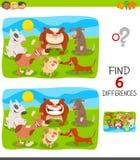 Encontrar el juego de las diferencias con el grupo de los perros ilustración del vector