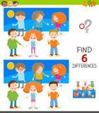 Encontrar el juego de las diferencias con los niños felices stock de ilustración