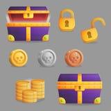 Encontrar un sistema de cofre del tesoro de iconos del juego Imagen de archivo libre de regalías
