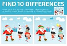 Encontre as diferenças, jogo para crianças, diferenças do achado, jogos do cérebro, jogo das crianças, jogo educacional para cria Imagens de Stock Royalty Free