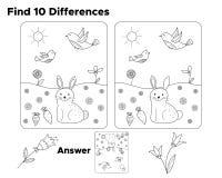 Encontre dez diferenças, tarefa para crianças prées-escolar ilustração do vetor