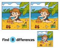 Encontre diferenças, construções da menina um castelo da areia ilustração royalty free
