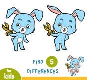 Encontre diferenças, jogo da educação, coelho e tesouras Imagem de Stock