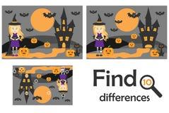 Encontre 10 diferenças, jogo para crianças, imagem do Dia das Bruxas no estilo dos desenhos animados, jogo para crianças, ativida ilustração royalty free