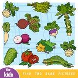 Encontre dois as mesmas imagens, jogo da educação para crianças ilustração stock