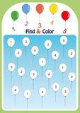 encontre e colora números 1-5, folha da matemática para crianças ilustração stock