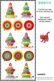 Encontre a ideia superior do enigma visual empilhado da matemática dos brinquedos dos anéis ilustração stock