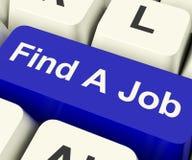 Encontre Job Computer Key Showing Work e uma busca das carreiras em linha Foto de Stock Royalty Free