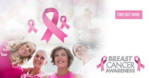 Encontre mais botão com texto e fitas cor-de-rosa com as mulheres da conscientização do câncer da mama Imagem de Stock Royalty Free