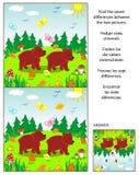 Encontre o enigma da imagem das diferenças com os dois ursos marrons pequenos ilustração do vetor