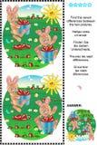Encontre o enigma visual das diferenças - coelhos que colhem cenouras ilustração do vetor