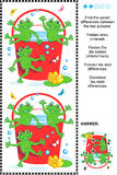 Encontre o enigma visual das diferenças - rãs e cubeta vermelha Fotografia de Stock Royalty Free
