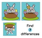 Encontre o jogo educacional das crianças das diferenças Caçoa a folha da atividade, com caráter bonito do coelhinho da Páscoa ilustração do vetor