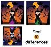 Encontre o jogo educacional das crianças das diferenças Caçoa a folha da atividade, com caráter da bruxa do Dia das Bruxas ilustração do vetor