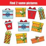 Encontre o mesmo jogo educacional das crianças das imagens Natal, tema dos feriados de inverno ilustração royalty free