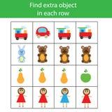 Encontre o objeto extra na fileira Jogo educacional das crianças ilustração stock