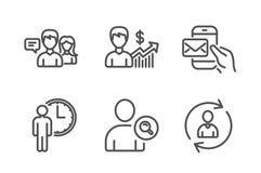 Encontre o usu?rio, os ?cones de fala e de espera dos povos ajustados Crescimento do neg?cio, correio do mensageiro e de informa? ilustração stock