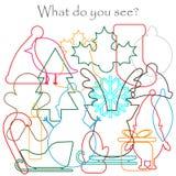 Encontre objetos escondidos na imagem, tema do Natal - boneco de neve, cervo, mitene, bota do xmas, chapéu, grupo do contorno da  ilustração royalty free