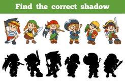 Encontre a sombra correta (ajuste dos piratas dos caráteres) Foto de Stock Royalty Free